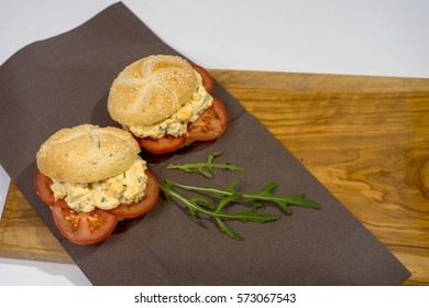 roll of paste with eggs and tomatoes