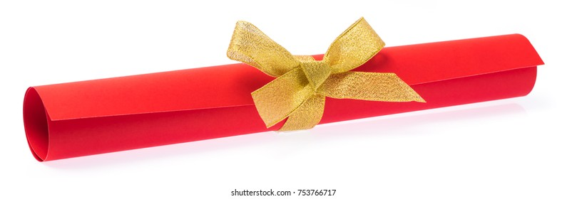 roll red paper with gold ribbon isolated on white background