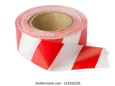 Roll of red white barrier tape isolated on white