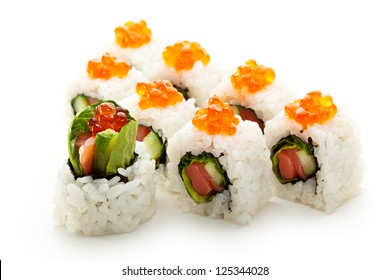 Roll with Salmon, Salad Leaf and Cucumber inside. Topped with Ikura (Salmon Caviar)
