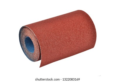 Roll of sandpaper, isolated on white background