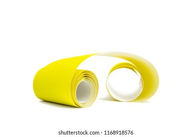 Roll of sandpaper yellow on white isolated background