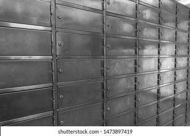 Roll of stainless PO boxes in a post office without numbering
