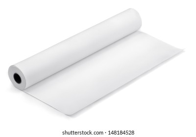 Roll of thermal fax paper isolated on white