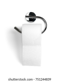 A Roll of Toilet Paper Hanging on a Toilet Paper Holder