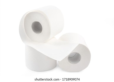Roll of toilet paper, tissue for use in the toilet room, used for cleaning the dirt in the bathroom isolated on the white background.
