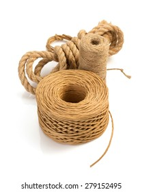roll of twine cord and thread isolated on white background