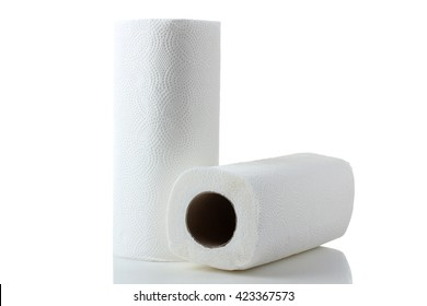 roll white napkins on a white isolated background