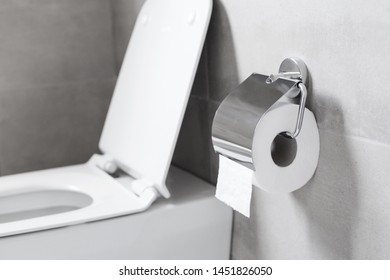 Roll of white toilet paper hanging on metal toilet-paper holder at restroom, nobody