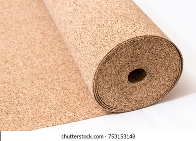 Roll of wood cork on a white background. Cork - a natural material.