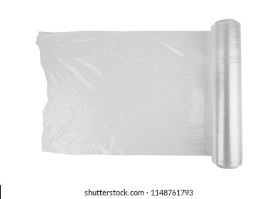 Roll of wrapping plastic stretch film isolated on white background