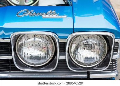 ROLLA, MISSOURI JUNE 6, 2015  Rolla Summerfest Car Show - Chevelle was manufactured by Chevrolet from 1964 through 1977.  Headlights and tail lights were one of the ways to distinguish the model year.