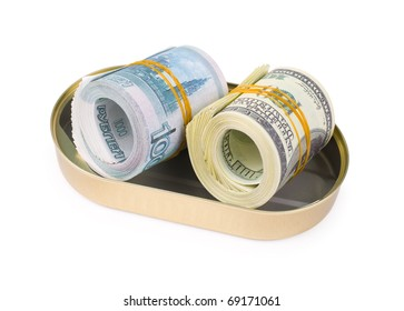 rolled bundles of US 100 dollars and russian 1000 rubles bills, in an oval can, clipping path