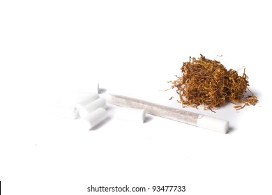 rolled cigarette with filters and tobacco isolated on white