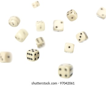 Rolled dices on white background