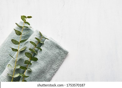 Rolled fluffy towel and green eucalyptus branch on white background. Minimalist scandinavian style. Hygiene, wellness well-being, body care concept. Copy space for text, top view
