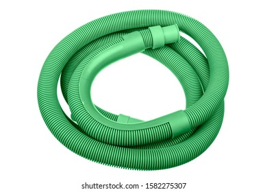 Rolled up green washing machine drain hose isolated on white background