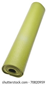 Rolled Green Yoga Mat Isolated on White with a Clipping Path.