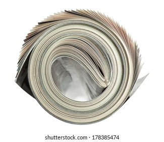 Rolled up magazine isolated on white background with clipping path