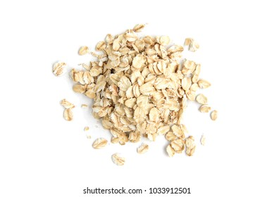 Rolled oat isolated on white background.