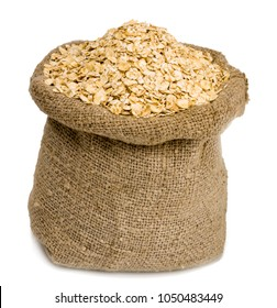 Rolled oats in a bag isolated on white background.
