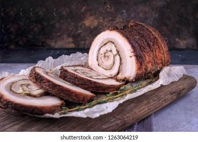 Rolled Pork Loin. Stuffed Pork Loin. Meat Roll.