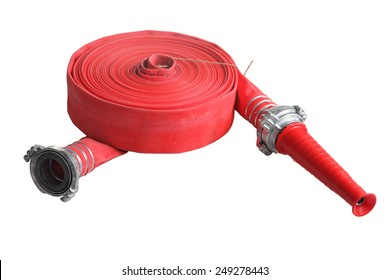 Rolled up red fire fighting hose with coupler and nozzle, Isolated on white background.