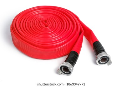 Rolled red fire hose isolated on the white background with clipping path.