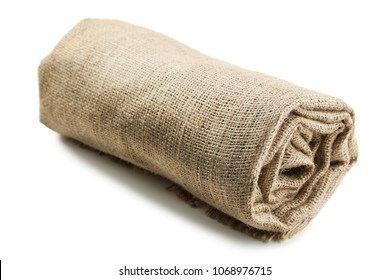 Rolled up sackcloth isolated on white background