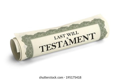 Rolled up Scroll of Will and Testament Papers Isolated on White Background.