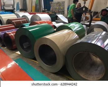 Rolled steel sheet, slit coil storage in factory warehouse at Jet Steel and Service Company 27 April 2017  Samutprakran ,Thailand