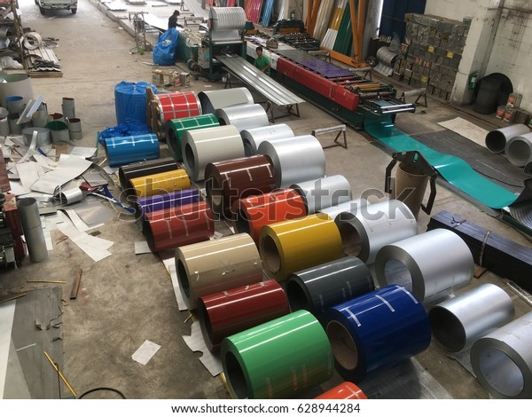 Rolled Steel Sheet Slit Coil Storage Stock Photo (Edit Now