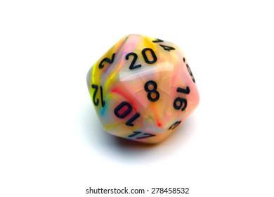 Rolled twenty on a colorful twenty sided die