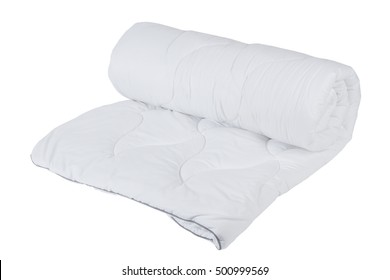 Rolled white blanket isolated