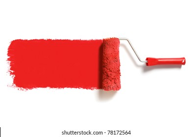 roller brush with red paint track mockup. Creative, decorating and renovation tool