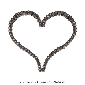 Roller chain with for motorcycle in the form of heart. Isolated on white background