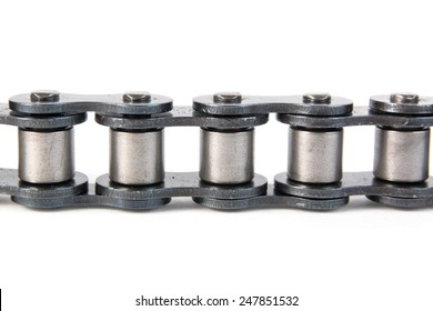 Roller chain on a white background