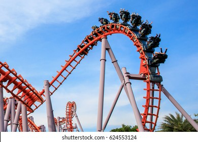 Roller Coaster at amusement park of Bangkok, Thailand.