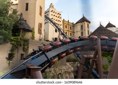 "The roller coaster ""Black Mamba"" in german amusement park phantasialand on 02.01.2020"