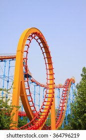 Roller coaster circular orbit, closeup of photo