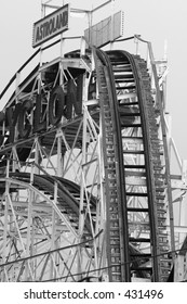 Roller coaster at Coney Island in black and white