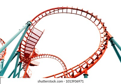 Roller coaster on white background