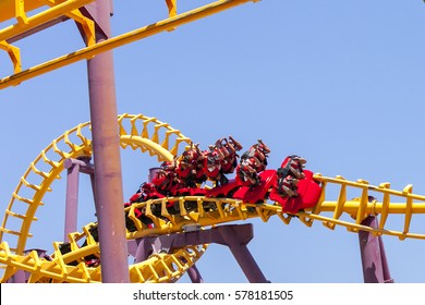 Roller coaster with people