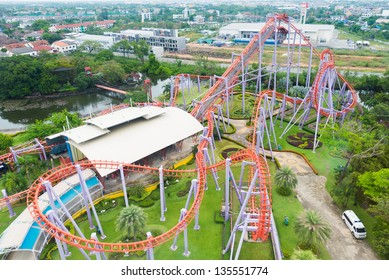 Roller coaster rail shot from above