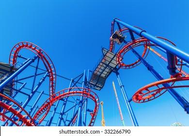 roller coaster Soarin Eagle in Luna Park, Coney Island, Brooklyn, New York City