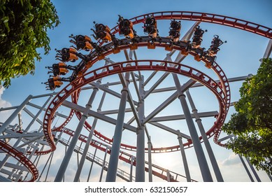 Roller Coaster Track on background of blue sky