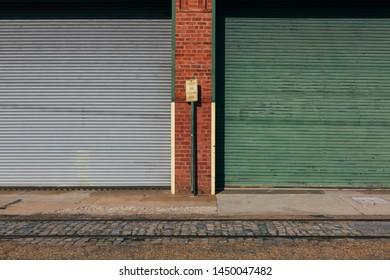 Roller doors on shops in Richmond City
