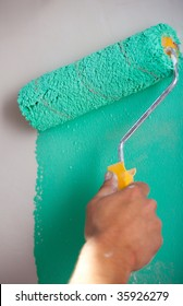 Roller paint the walls green