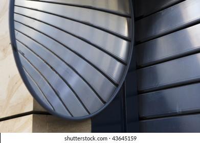 Roller shutter garage door with mirror