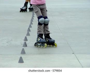 roller skates in a motion